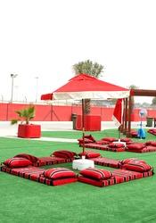Colourful majlis,  Arabian style seating arrangement