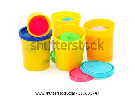 Colourful molding dough for children isolated on white background