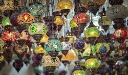 Colourful mosaic lamps commonly found in Turkey.