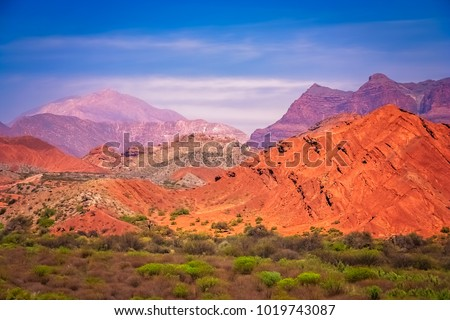 Colourful mountains of Quebrada de Humahuaca in Salta Province in Northern Argentina #1019743087
