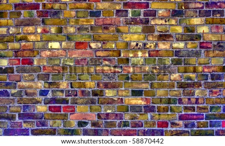 Colourful old brick wall, HDR photo - stock photo