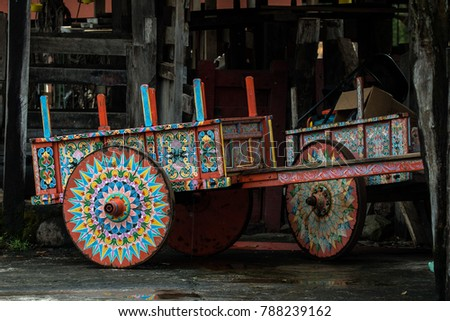colourful old traditional ox...