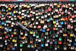 colourful padlocks hanging on fence wire