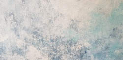 colourful painting wall with white and blue gradient, fresco technique