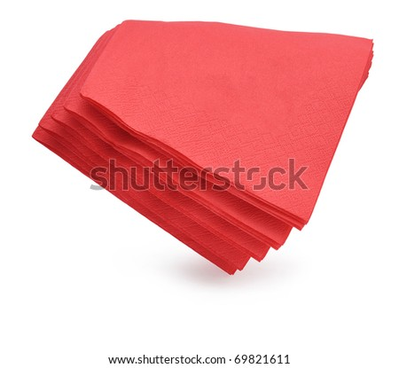 Colourful paper napkins isolated over white background.