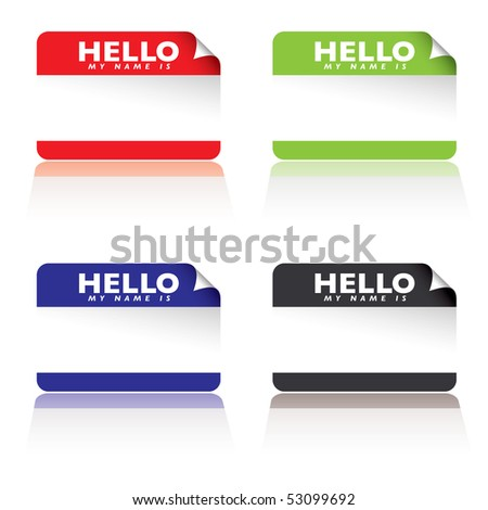 colourful paper tags with hello my name is