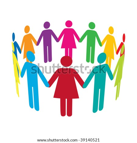 stock photo : Colourful people holding hands in a circle