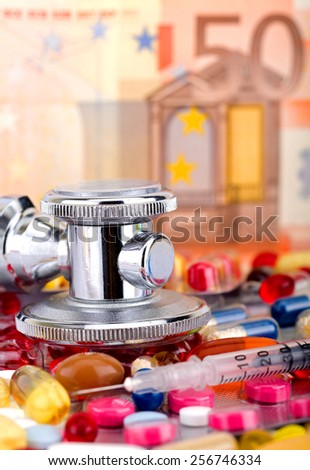 Colourful pills and capsules over 50 euro