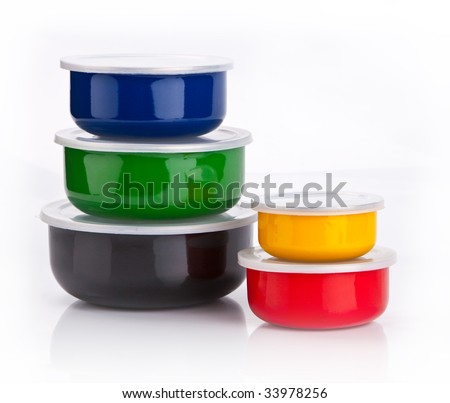 Colourful plastic containers isolated on a white background