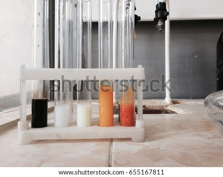Colourful precipitations in the tubes #655167811