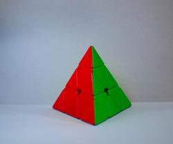 Colourful Pyraminx Cube, Puzzle Box Shap In white Background