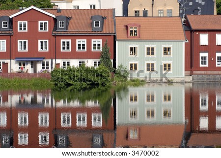 Colourful Scandinavian Houses by the River