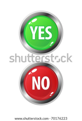 Colourful set of Yes/No buttons