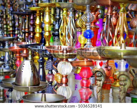 Colourful shishas to be sold in a gift shop in the city of Hurghada, Egypt. #1036528141
