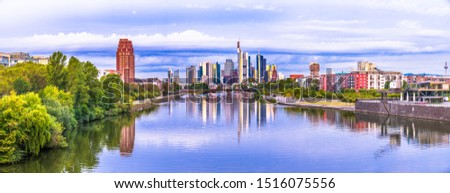 Colourful skyline panorama of Frankfurt city centre. Germany