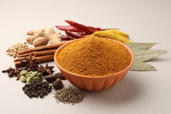 Colourful spices for curry Masala. Food ingredients for curry masala, indian spice mix with Powder. Selective focus