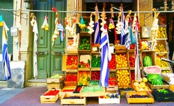 Colourful Street Market Selling Fruits, Vegetable and Produce. Montevideo, Uruguay Flag