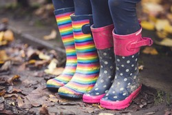 Colourful stripy and spotty wellies on an autumnal day