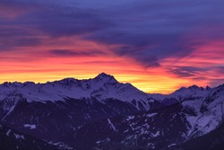 Colourful Sunset Over Panoramic  Mountain