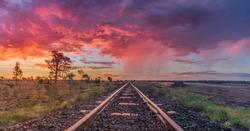 Colourful Sunset over Railroad