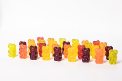 colourful sweet gummy bears isolated on white background.