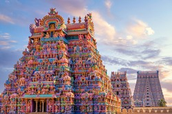 Colourful Temple Gopurams in Srirangam, Trichy town of tamilnadu in india