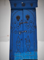 Colourful traditional doors in Tunesia
