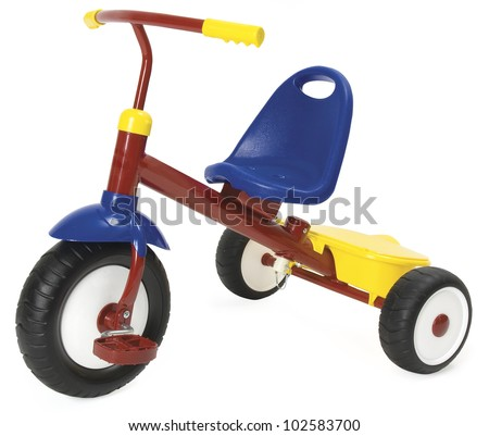 Colourful tricycle on a white background. Clipping path included.