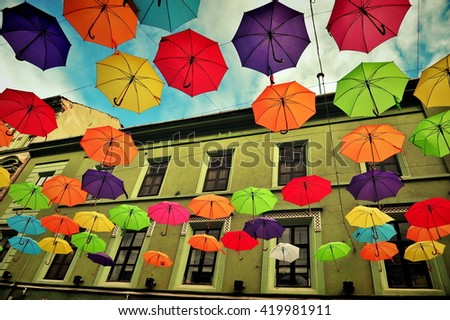 colourful umbrellas in the...