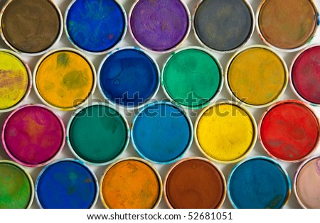 Colourful used water paint