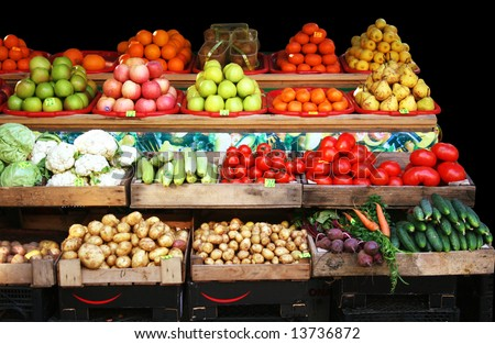 Colourful vegetable and fruit market