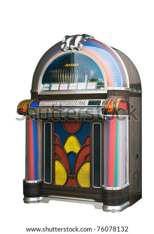 colourful vintage wooden jukebox
