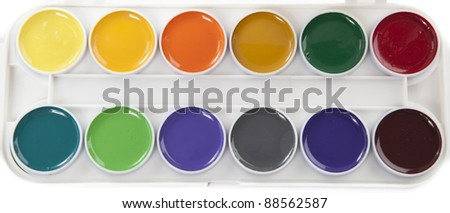 Colourful Watercolors Palette Isolated on White Background - stock photo