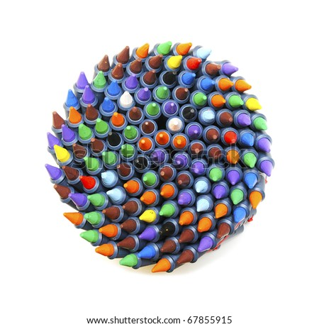 colourful wax crayons whirl