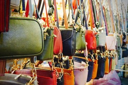 Colourful women bags for sale at Bangkok  street market