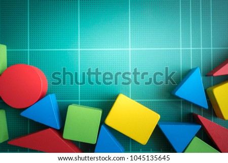 Colourful wood blocks stack game with copy space, playing and learning background concept.