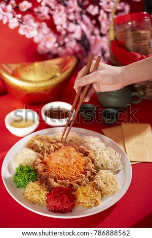 Colourful Yee Sang - A dish usually presented during Chinese New Year
