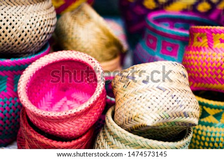 Colourfull Indigenous Guarani indian basket #1474573145