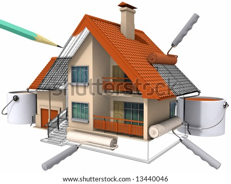 Colouring of the constructed house by a paint. Image with clipping path.