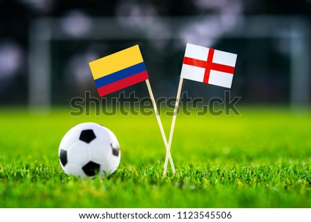 Columbia and England national flag on football stadium. Columbia - England, Round of 16, eight final, 3. July,  #1123545506