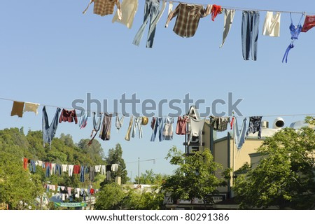 COLUMBIA, CA - MAY 6  : old timers clotheslines hanging in middle of  street in Columbia city for the annual Country Fair celebration. MAY 6, 2006  Event in Columbia, California, USA
