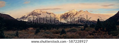 Columbia Icefield panorama with snow covered mountains at sunrise in Banff Jasper National Park, Canada.  - Shutterstock ID 587228927