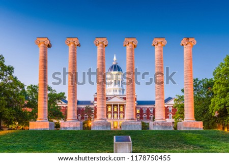 Columbia, Missouri, USA historic campus and columns. #1178750455
