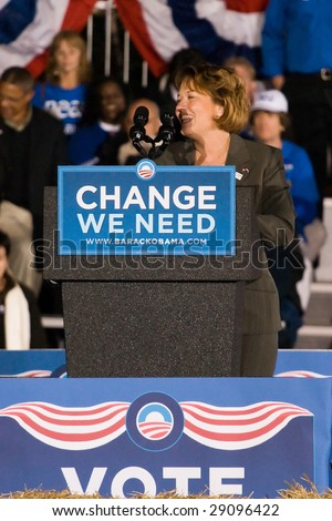 COLUMBIA, MO - OCTOBER 30, 2008: Missouri state auditor Susan Montee speaks at an Obama campaign rally on the campus of the University of Missouri-Columbia on October 30, 2008.