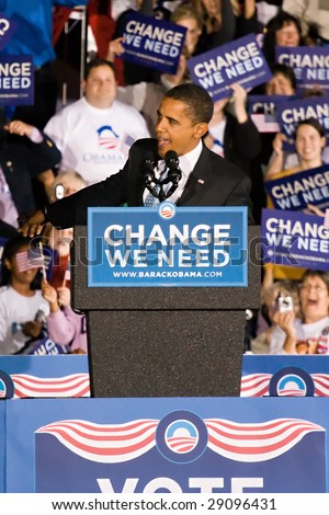 COLUMBIA, MO - OCTOBER 30, 2008: Then-Senator Barack Obama speaks at a campaign rally on the campus of the University of Missouri-Columbia on October 30, 2008.