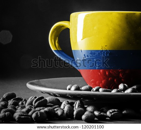Columbian Flag on cup of coffee