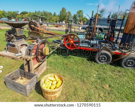 Columbine, USA - June 16, 2015: Exhibition of rare steam technology shows. Steam cars on the show of vintage technology. #1270590115
