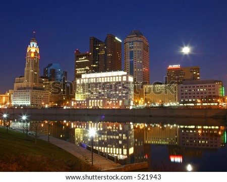 Columbus city skyline at night.