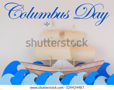 columbus day image with paper...