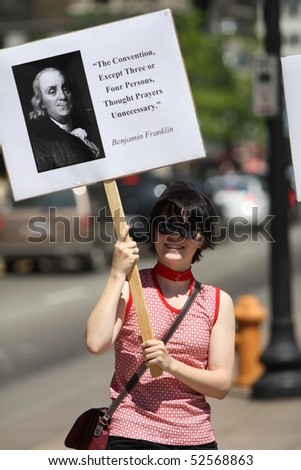 COLUMBUS, OH - MAY 6: Protestor at Ohio National Day of Prayer Observance at Ohio Statehouse May 6, 2019 in Columbus, OH.